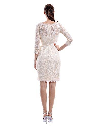 Find Dress Femme Elégant Robe de Soirée/Cocktail/Cérémonie pour Mariage Manches 3/4 en Dentelle Bleu Foncé