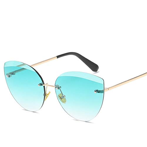 JIGHB Sonnenbrille weiblich Damen Sonnenbrillen Ocean Fashion Randlose Sonnenbrillen Damen Cat Eye Oversized Eyewear Sonnenbrillen