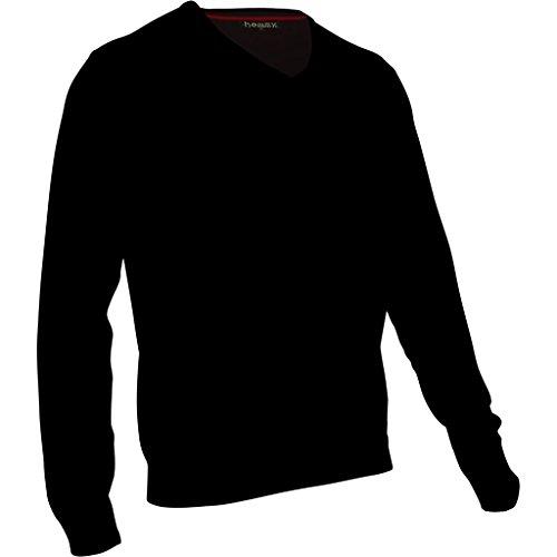 hemmy Herren Pullover Feinstrick V Neck - uni, meliert, gestreift - M, L, XL, XXL schwarz - jet black