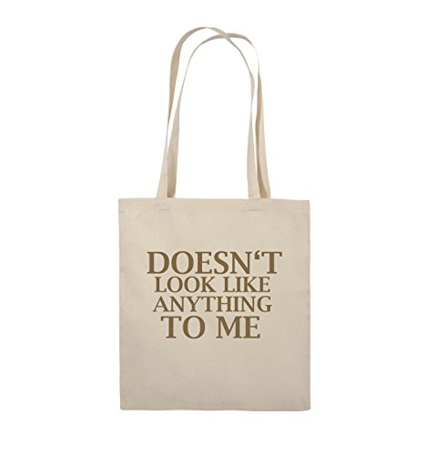 Comedy Bags - DOESN'T LOOK LIKE ANYTHING TO ME - Jutebeutel - lange Henkel - 38x42cm - Farbe: Schwarz / Silber Natural / Hellbraun
