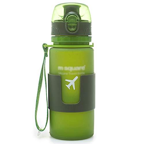 Trinkflaschen Outdoor-Wasserkocher Sport Travel Cup Silikon Bulk Portable Faltbare Fitness Reiten Isolierung (Color : Green, Size : 350ml) (Bulk Baby-schnuller In)
