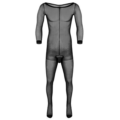 iEFiEL Durchsichtig Männer Body Unterwäsche Unterhemd Herren Bodysuit Overall Jumpsuit Ganzkörperanzug Strumpfhosen mit Penishülle Schwarz One Size