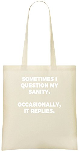 Manchmal stelle ich meine geistige Gesundheit in Frage - Sometimes I Question My Sanity Custom Printed Shopping Grocery Tote Bag 100% Soft Cotton Eco-Friendly & Stylish Handbag For Everyday Use Custom