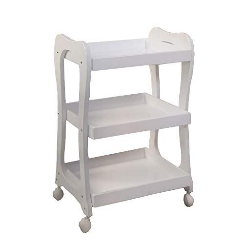 Carrito YXX 3 estantes Blanco salón Belleza Ruedas