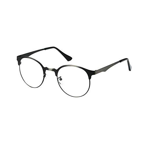 Deylaying Damen Herren Jahrgang Optische Gläser Runden Voll Rahmen Brille Klar Linse Reise Brillen (Aviator Sonnenbrillen, 53mm)