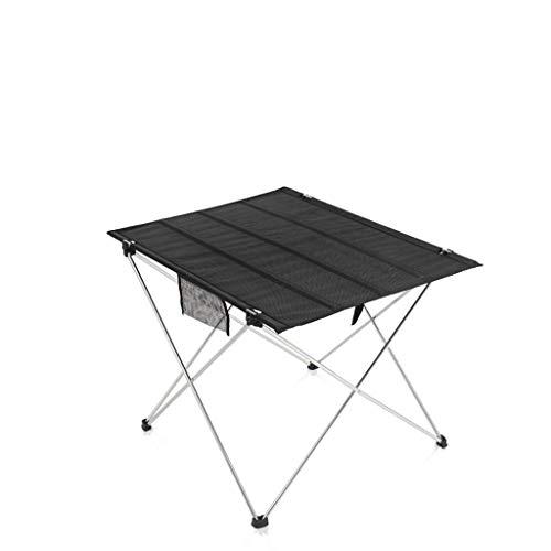 Table Pliante, lumière, Sauvage, Camping, Table de Salle à Manger, expositions, Barbecue, extérieur, Aluminium (Couleur : Noir)
