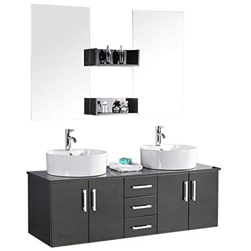 Grafica ma.ro srl mobile bagno arredo bagno completo modello butterfly 150 cm doppio lavabo rubinetti inclusi