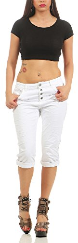 Lexxury Short Jeans Neu rosa Knöpfe Pailletten Sommer S M L XL Baggy Knopfleiste