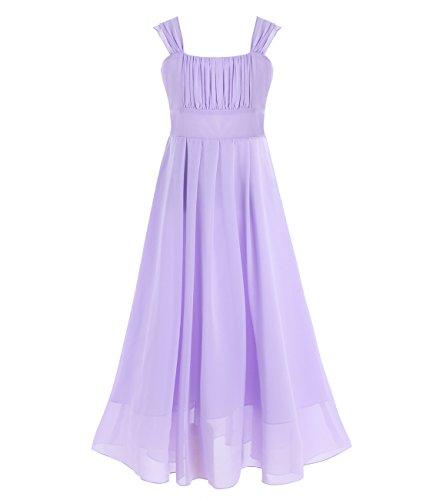 IEFIEL Mädchen Kinder Kleider Festlich Lang Brautjungfern Kleid Prinzessin Hochzeit Party Kleid Chiffon Festzug Gr size_name 140 (Herstellergröße: 10 Jahre)  color_name  Lavendel -