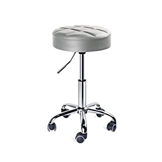 Leader Accessories Swivel Stool, Round Rolling Stools, Adjustable Work Stool with 5 Wheels, Black/White (Light Grey)