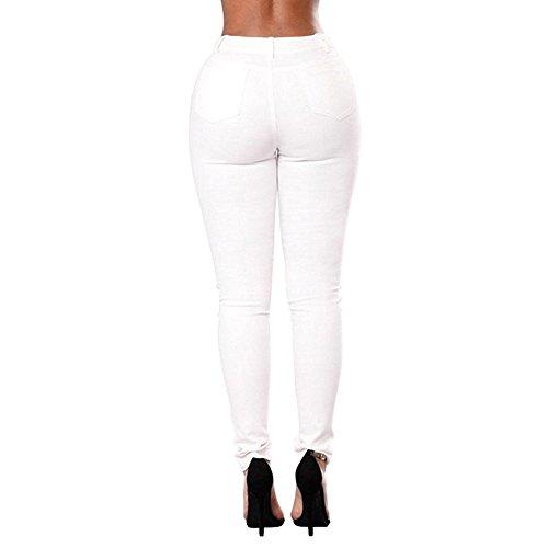 Femme Hight taille Jeans / pantalons en denim Skinny / jeans skinny pantalon / étirez femme élégante pantalons longs Jeans / crayon Legging / Ripped avec des trous broderie florale Blanc