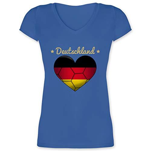 Handball WM 2019 - Handballherz Deutschland - XXL - Blau - XO1525 - Damen T-Shirt mit V-Ausschnitt