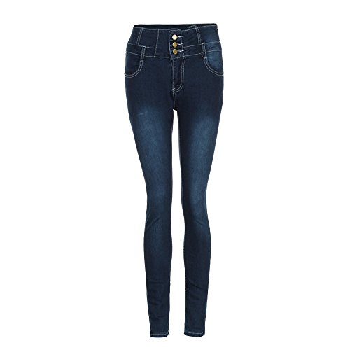 Lixiliw Damen Jeanshose mit gerissener Taille Slim Skinny Jeans Stretch Denim Hot Pencil Denim Halbhohe Körbchen 2XL dunkelblau -
