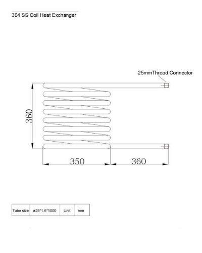 dutch tub Gowe 304ss Coil Wärmetauscher für Dutch Badewanne, maximaler Betriebsdruck: 4.5mpa