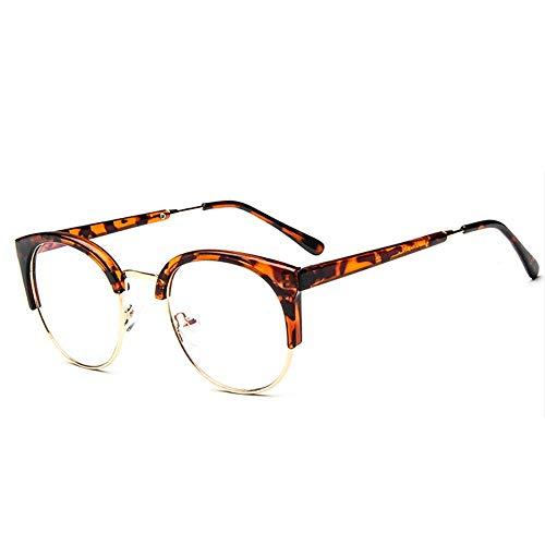 Gaodaweian Unisex Vintage Brille Horn Umrandeten Nerd Metall Brillen Optische Brille Half Frame Brille für Frau und Mann (Color : Brass)