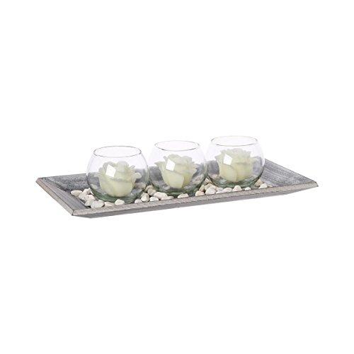 Coffret de 3 photophores bougeoirs avec bougies sur plateau - Esprit Charme - Coloris BLANC