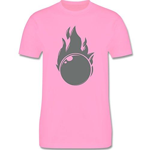 Bowling & Kegeln - Kegeln Flammen Kugel einfarbig - Herren Premium T-Shirt Rosa