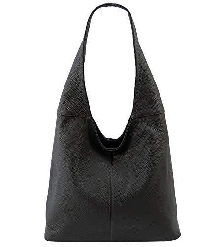 Leder Tasche Beutel (Freyday Original Ledertasche Beutel Schultertasche Beuteltasche 100% Echtleder aus Italien (Schwarz))