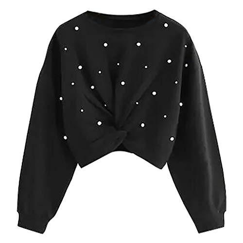 Damen Kurz Crop Top Pullover Crewneck Pulli Sweatshirt Einfarbig Teenager Mädchen Bauchfrei Tops Langarm Jumper Oberteile Shirt Langarmshirt T-Shirt (S, Schwarz)