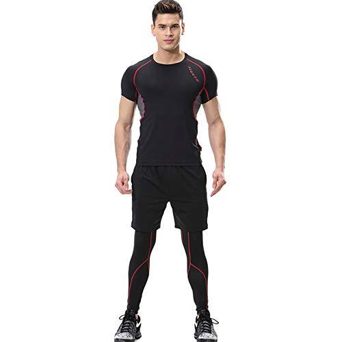 QJKai Mens Fitness Kleidung Set,Sommer-Kompressions-T-Shirt kurzärmelige hochelastische schnell trocknende Strumpfhose Gym Laufsportbekleidung Anzug DREI Sätze
