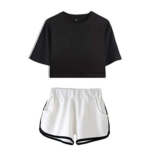 JFRIA Exposed Nabel Short Sleeve + Short Pants Sexy Anzug Bedruckt,Tanzsportkleidung Kostüm einfarbig, 2-teiliges Set