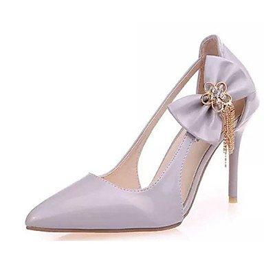Moda Donna Sandali Sexy donna tacchi tacchi estate pu Casual Stiletto Heel Bowknot rosa / bianco / grigio altri gray