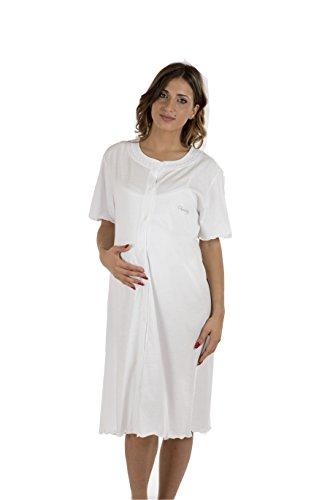 Premamy - camicia clinica per premaman, modello aperto davanti, cotone jersey, pre-post parto - bianco - vii (xxl)