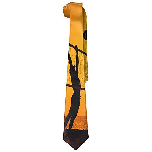 Men Beach Volleyball Sunset Polyester Silk Fashion Gentleman Tie Necktie Gift Box