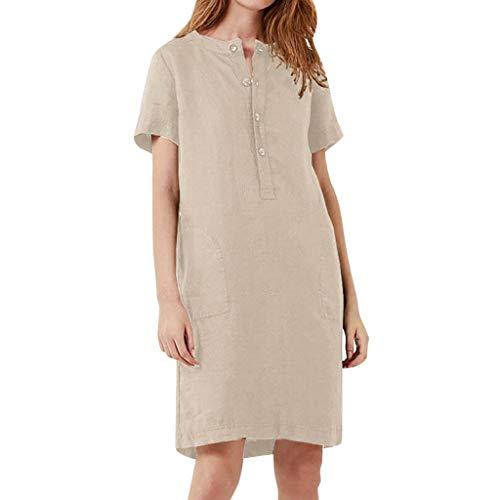 Leinenkleider Damen Sommerkleider Knielang Lose Strandkleider Retro Renaissance Täglich Kleid Kleider mit Taschen Casual Kurzarm Täglich Kleid