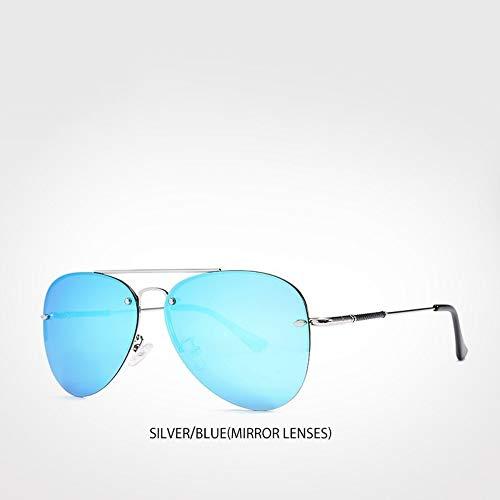 MoHHoM Sonnenbrille 2019 Neue Polarisierte Sonnenbrillen Semi Randlose Herren Sonnenbrille Marke Beschichtung Objektiv Spiegel Sonnenbrille Blau