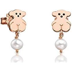 TOUS - Colección «New Basics» - Pendientes colgantes de plata vermeil rosa con diseño de oso de 11,50 mm y perlas de 6 mm