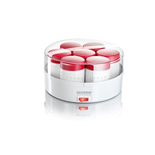 31C50AJFzzL. SS500  - Severin Yoghurt Maker which Includes 14 Jars and with 13 W of Power JG 3519, 150 liters, White-red