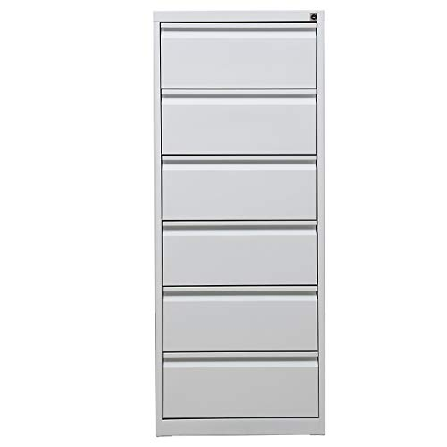 Certeo Karteischrank | 6 Schubladen | HxBxT 132 x 53 x 62 cm | Weiß | Karteikartenschrank Aktenschrank Büroschrank Ordnungssystem Karteiordnung