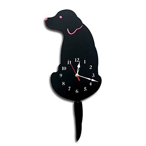 Eastery Acryl Cartoon Schwanz Wackeln Labrador Hund Muster Wanduhr Für Zimmer Einfacher Stil Schlafzimmer Wanduhr Antik Vintage Design Rustikal Modern Wohnzimmer Style (Color : Colour, Size : Size) -