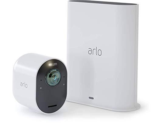 Arlo Ultra Smart Home 1 4K UHD und HDR Security-Überwachungskamera (Farb-Nachtsicht, funktioniert mit Alexa, 180 Grad Blickwinkel, Spotlight, Wetterfest, HD Audio) weiß, VMS5140