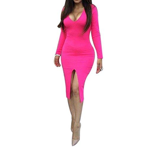 QIYUN.Z Sexy Col V Nouvelle Femmes De La Mode a Manches Longues Moulantes Club De Parti Divise Robe Maxi Chaude Combinaisons Rose