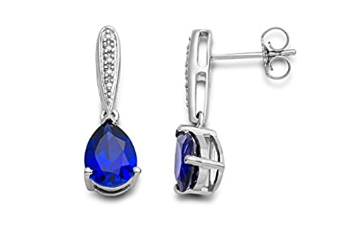Miore Ladies 925 Sterling Silver Sapphire Blue and Diamonds Drop Earrings