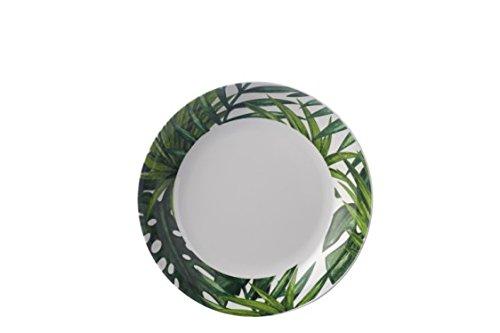 Botanic Tropical Vert et Blanc Motif - Faible Bol - Élégant, léger et Durable en mélamine Pique-Nique/Barbecue/Buffet extérieur Salle à Manger Salade de Fruits/céréales/Soupe/Bol à pâtes - 22 cm
