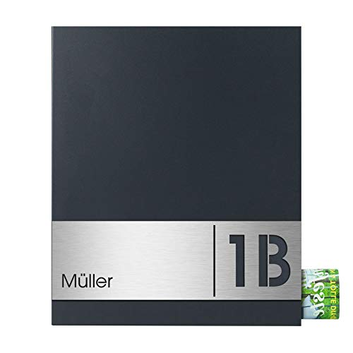 Design-Briefkasten mit Zeitungsfach MOCAVI Box 111 Wandbriefkasten (Anthrazit + Name + Hausnummer)
