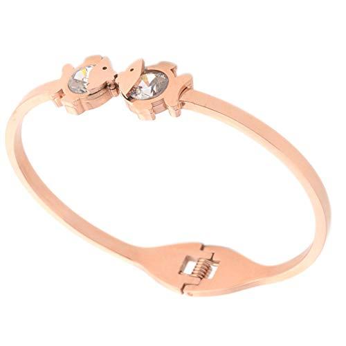 Frauen Armbänder Rose Gold Armreif Titan Stahl Armreif Armbänder Schmuck für Valentines Hochzeit