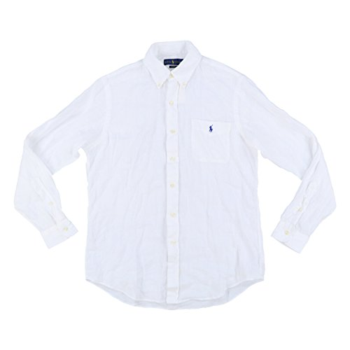 Ralph lauren camicia polo lino classic fit taschino pony (xl, bianco)
