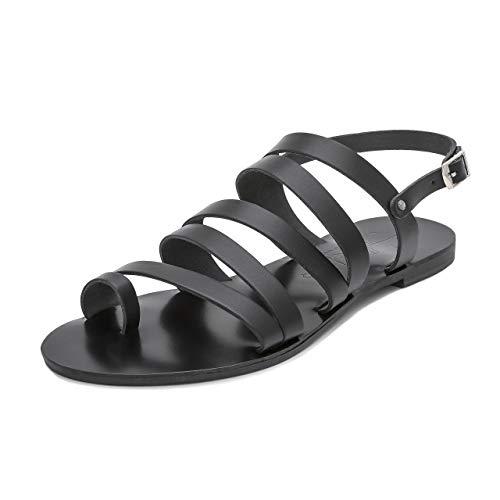 Schmick Selene Damen Sandalen: Leder Zehenring Sommerschuhe Riemchensandale Flacher Absatz handgefertigt, Gr. 41, schwarz schwarz