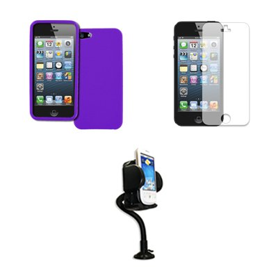 Empire Apple iPhone 5 Purple Case Étui Coque Textured Poly Skin + Réglable Voiture Dashboard Mont + Invisible Films de protection d'écran