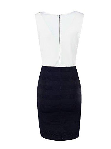 N024 Damen Kleid Rockabilly Petticoat Sommerkleid Retro 50er Jahre Vintage Party Weiß