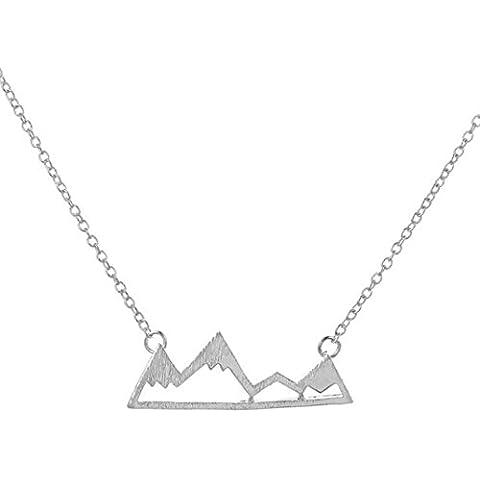 Pico Montaña Hueco Colgante Collar con cadena de 18