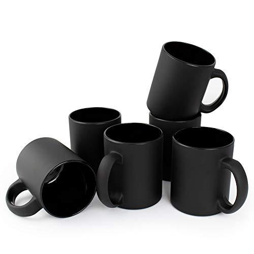 Werbewas 6er Set satinierte Kaffee-Tassen ohne Druck - matt schwarz - Elegante Becher für Büro und Haushalt, 300ml-Tasse Tee-Pott - B Ware