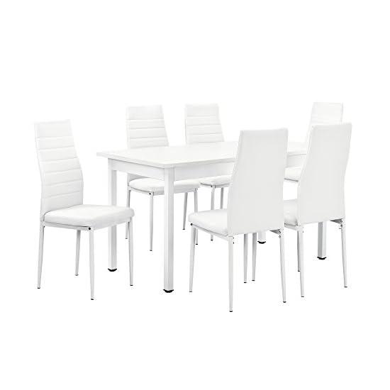 [en.casa] Esstisch weiß 140cm x 60cm x 75cm + Stühle weiß 96 cm x 43cm