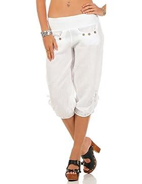 Malito Pantalones de Chándal Lino y con Botón de diseño de Madera 6302 Mujer