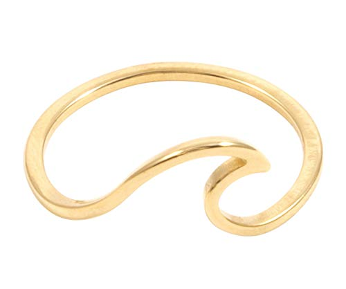 Happiness Boutique Damen Zarter Ring Welle in Goldfarbe | Filigraner Wellenförmiger Ring aus Edelstahl