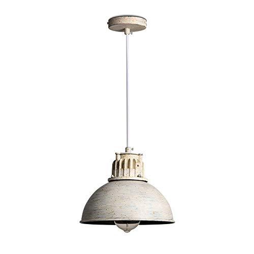 LQUIDE Vintage Industrial Pendelleuchte Retro White Iron Lampenschirm rundes Design Licht Anhänger für Küche Island Bar Esstisch Wohnzimmer Loft Korridor Foyer Treppe Kronleuchter -